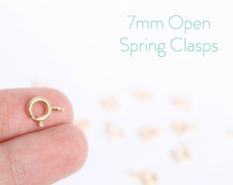 25 Pieces - 14k Gold Filled Spring Clasps - 7mm Open Spring Clasp - Jewelry Closure - Gold Clasp - Findings - Jewelry Supplies / GF-SC003