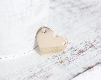 Gold Heart Connector - 14k Gold Filled - 13mm x 10.9mm - 2 Hole Heart Charm - Stamping Blanks - Flat Heart - 24 Gauge - Pendant / GF-CB018