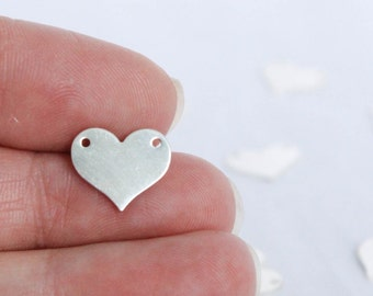 Sterling Silver Heart Connector - .925 - 13mm x 10.9mm - 2 Hole Heart Charm - Stamping Blanks - Flat Heart - 24 Gauge - Pendant / SS-CB018
