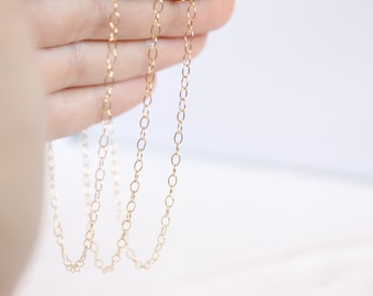 14k Gold Filled Chain by the Foot - 2x3mm Round Cable Chain - Extension Chain - Thin Chain - Wholesale Chain - Custom Length / GF-CH004
