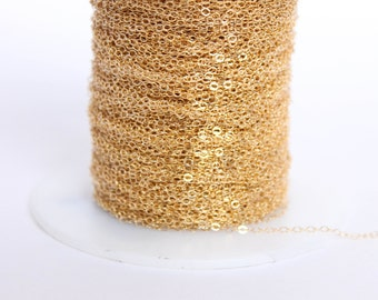 50 Feet - 14k Gold Filled Chain - 1.3mm Flat Cable Chain - Thin Chain - Delicate Gold Chain - Wholesale - Custom Length / GF-CH008
