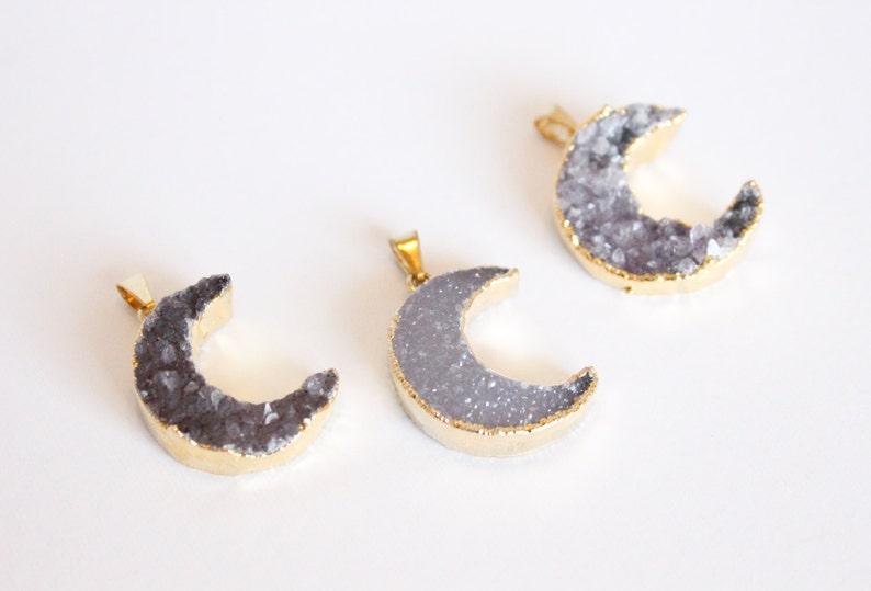 1 Piece  Crescent Moon Druzy Pendant  Grey Druzy  Purple image 0