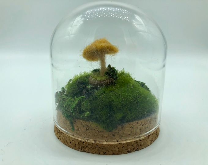 Fairy Mushroom under Glass- yellow