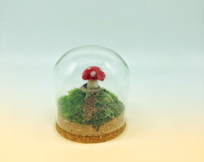 Fairy Mushroom Under Glass-polka dots
