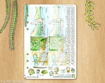 JUNE 17 - Watercolor Stickers For Travels, Fitting A5 Planners (Kikkik.k, Filofax, Carpe Diem, etc...): 8 Illustrated Fullboxes and 2 Washis