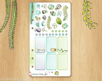 JUNE 17 - Watercolor Stickers For Summer and Travels, Fitting Personal Planners (Kikkik.k, Filofax, etc) : Hemiboxes and Chores