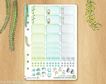 JUNE 17 - Watercolor Stickers For Summer and Travels, Fitting A5 Planners (Kikkik.k, Filofax, Carpe Diem, etc...): Hemiboxes and Eventboxes