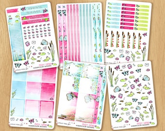 Weekly Kit for Erin Condren & Happy Planners, Fitting May Colors : Washis, Fullboxes, Checklists, Sidebar, etc.... all in pink and turquoise