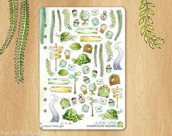 JUNE 17 - Watercolor Stickers For Summer and Travels, Fitting A5 Planners (Kikkik.k, Filofax, Carpe Diem, etc...): Multiples illustrations