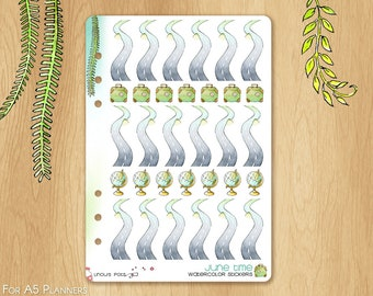 JUNE 17 - Watercolor Stickers For Summer and Travels, Fitting A5 Planners (Kikkik.k, Filofax, Carpe Diem, etc...): 18 Roads to Plan Your Way