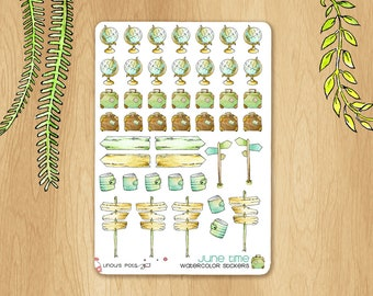 JUNE 2017 - Watercolor Stickers For Travels, Perfectly Fitting Erin Condren Life Planners and Happy Planners: World Maps, Luggage, Boards