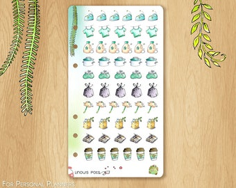 JUNE 17 - Watercolor Stickers For Summer and Travels, Fitting Personal Planners (Kikkik.k, Filofax, etc) : Housechores
