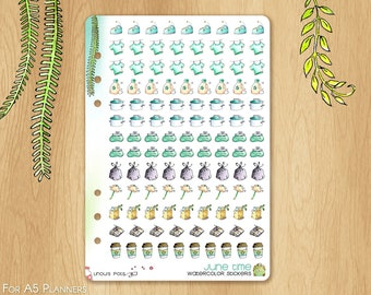 JUNE 17 - Watercolor Stickers For Summer, Fitting A5 Planners (Kikkik.k, Filofax, Carpe Diem, etc...): 113 Houseworks Illustrations