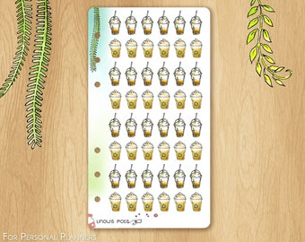 JUNE 17 - Watercolor Stickers For Summer and Travels, Fitting Personal Planners (Kikkik.k, Filofax, etc) : Summer Iced Coffees and Latte