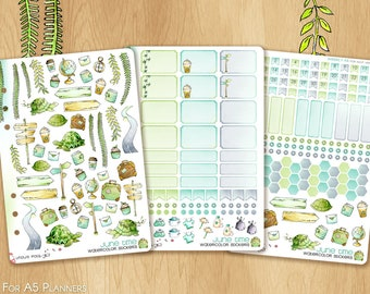 JUNE 17 - Watercolor Stickers For Summer and Travels, Fitting A5 Planners (Kikkik.k, Filofax, Carpe Diem, etc...): SMALL KIT (3 sheets)