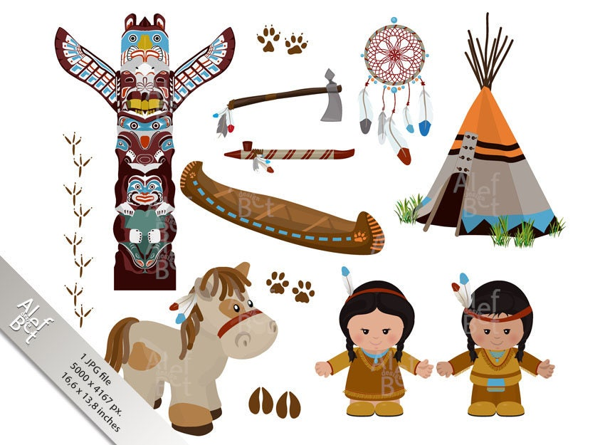 Indian Symbols Set Cartoon Characters Of American Indians Etsy