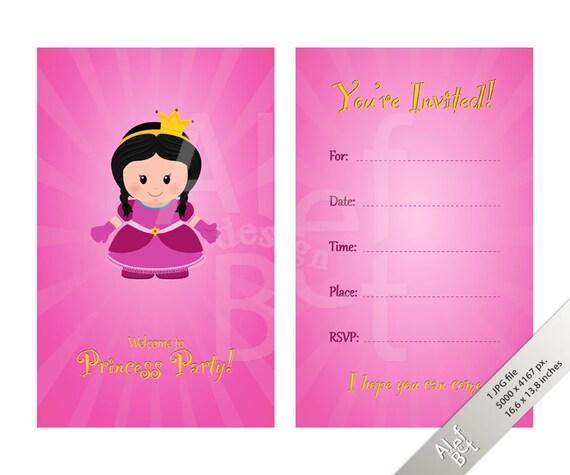 Invitación Para Fiesta De Niños Invitación De La Tarjeta Para Fiesta De Princesa Plantilla De Página Invitación Frente Y Parte Posterior De La