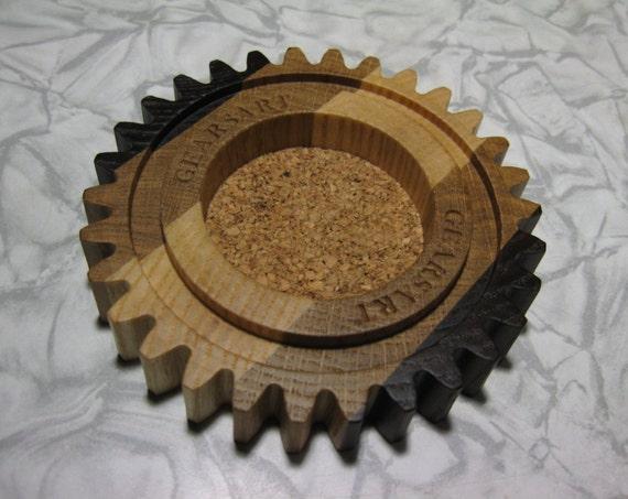 Houten gear lade voor industriële deco asbak hout etsy
