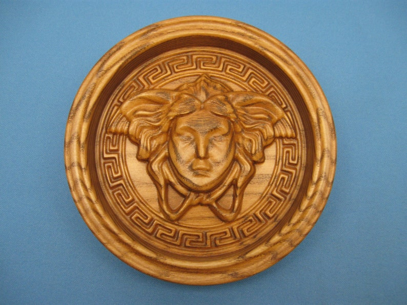 Ring dish Greek girl solid wood deco box gorgon woman home amulet 5.5 inch decoration paperweight madusa face round tray
