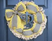 Mongram Burlap Wreath, Autumn Monogram Burlap Wreath, Thanksgiving Wreath, Burlap Wreath with Initial