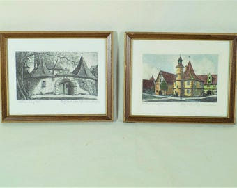 Original Vintage Etchings Rothenburg ob der Tauber by Ernst Geissendorfer 7 x 6 A Pair