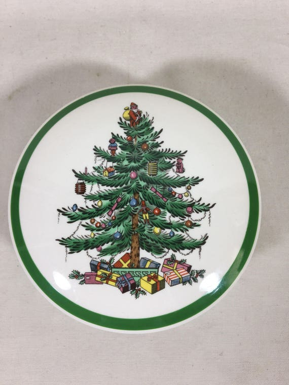 Spode Christmas Tree.Spode Christmas Tree Round Candy Dish Trinket Box With Lid Porcelain China Made In England