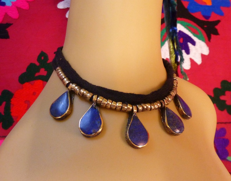 Ethnic Necklace with Blue Pendants Tribal-Necklace Afghani Necklace Bib-Necklace