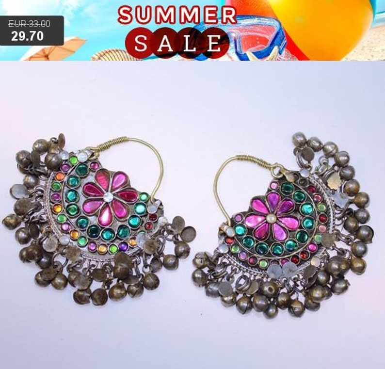 Pair of Kuchi-Tribal-Pendants with Pink and Green Jewels Kuchi Earrings with Bells Tribal Fusion