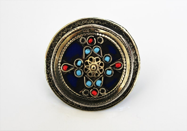 Nomad Tribal Fusion Hippie Boho Jewelry US 11 Big Blue Laghman Tribal Ring