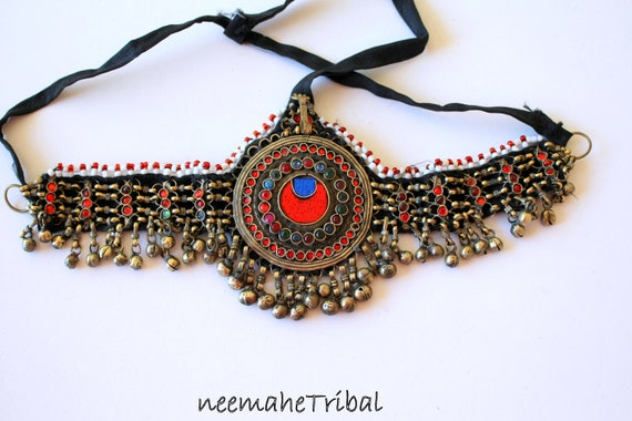 Vintage Kuchi Tribal Header with Colorful Glass-Je