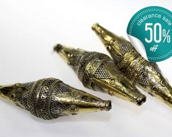 Tribal Metal Bead, Long Turkmen Metalbead, Kazakh Brass Metal Bead, Vintage, Set of 3 Beads