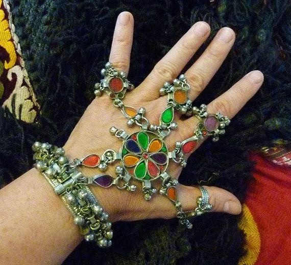 Tribal Kuchi Handflower with Colorful Stones, Trib