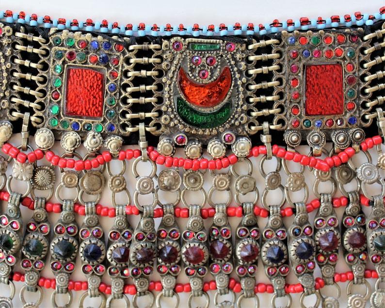 Orange and Green Glass Jewels Vintage Kuchi Tribal-Choker with Red Tribal Fusion Jewelry Handmade Nomad Kuchi-Choker