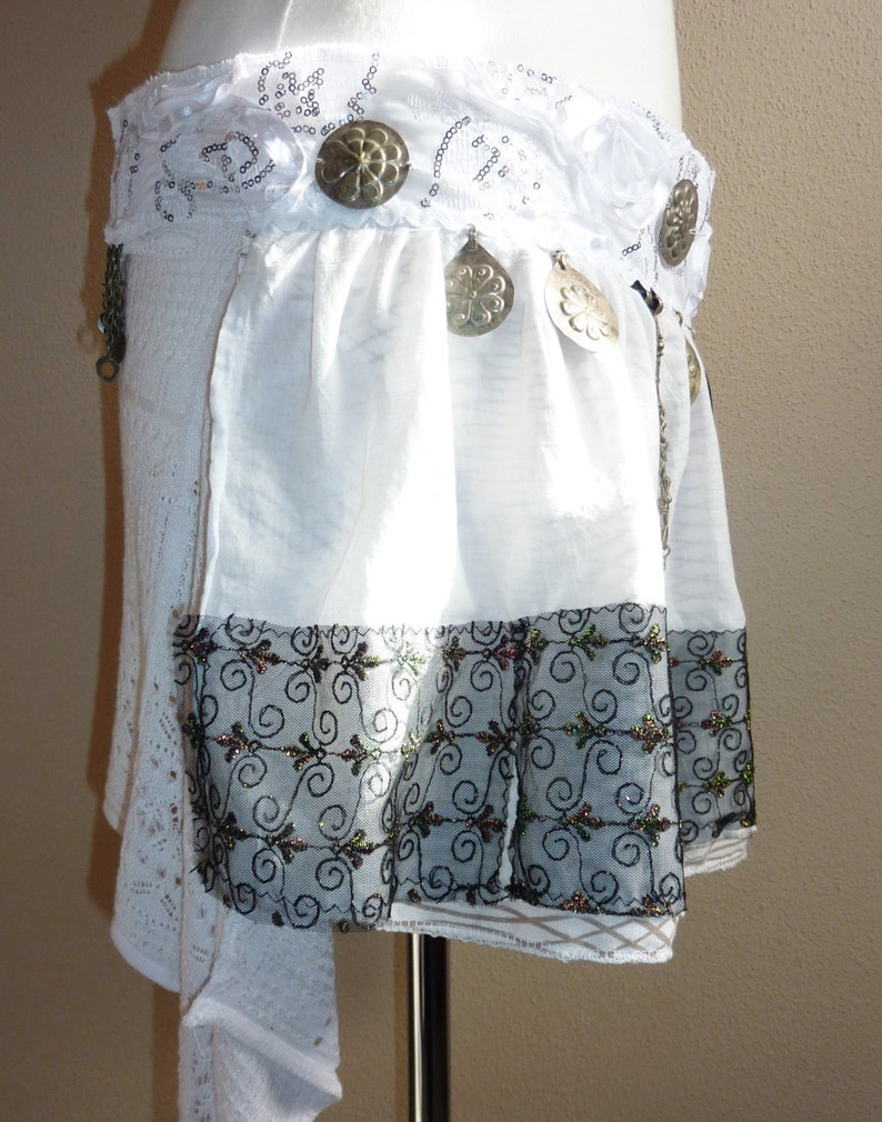 White with Black Border Tribal Fusion Hipscarf White Tribal Skirt OOAK Handmade ATS Cosplay Belldance Hip Scarf