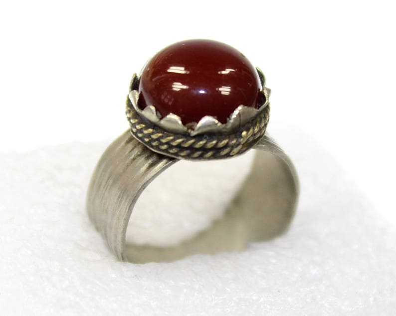 Tribal Fusion Tribal Ring US 7 Vintage Afghan Nomad Kuchi Ring with Red Jasper Stone Bohemian Ethno Hippie Ring Tribal Jewelry