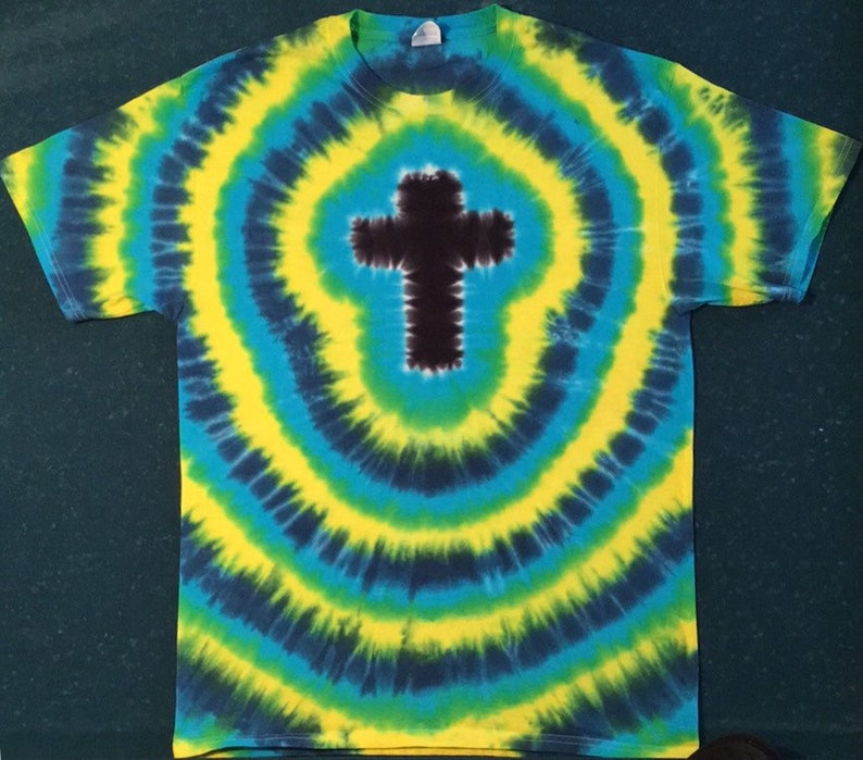 0381c32e82b15 Tie Dye Christian Cross T-shirt shirt hand made customizable FREE SHIPPING  Tye die Tie Dyed