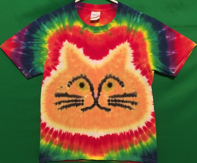8a742f2987ae9 Tie Dye Cat T-shirt shirt hand made customizable FREE SHIPPING Tye die Tie  Dyed