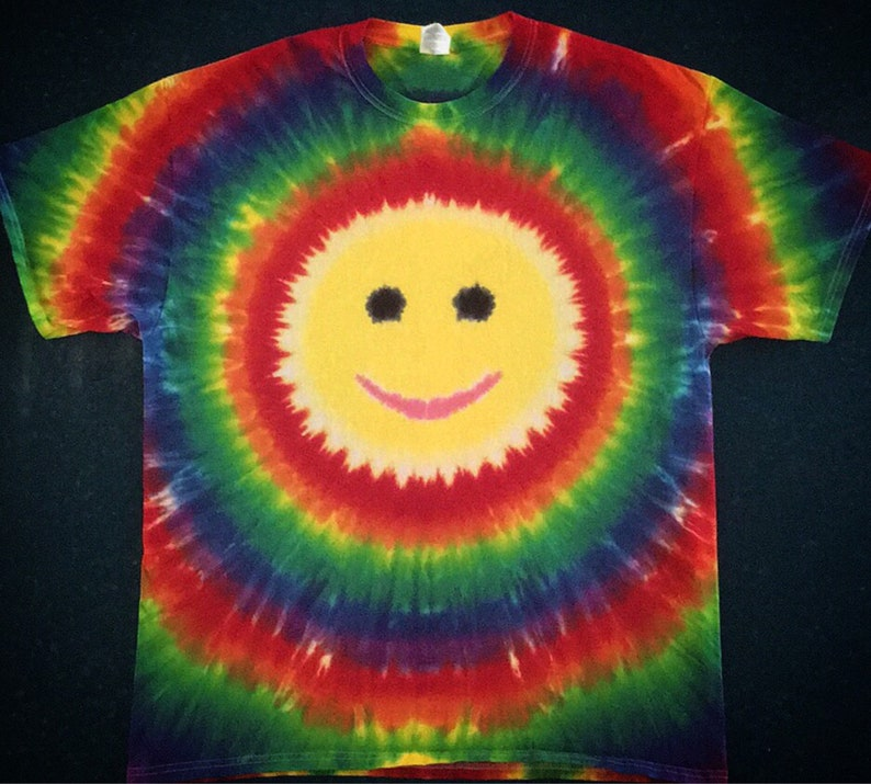 1f2998ac7e18d Tie Dye Smiley Face T-shirt shirt hand made customizable FREE SHIPPING Tye  die Tie Dyed