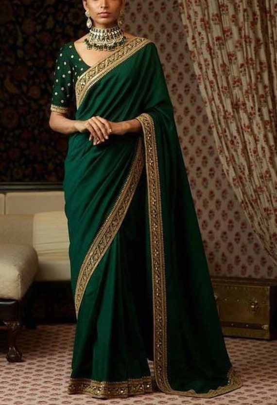 Fait main Turquoise-vert Déco de Banarasi Indien Soie 40 cm x 40 cm