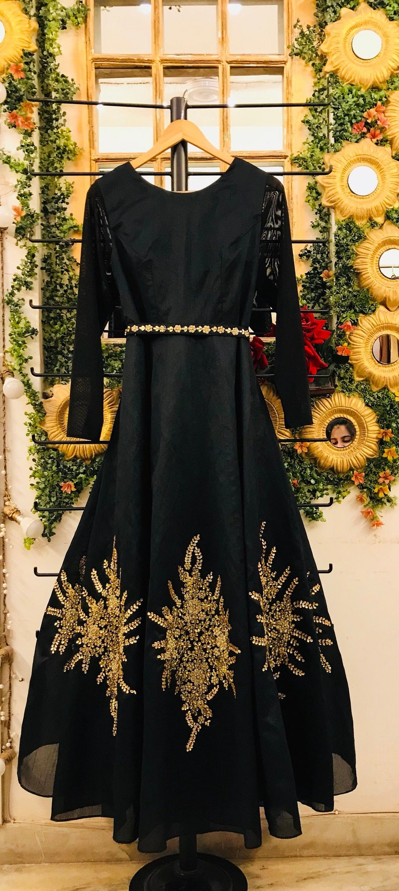 e96600e171c Black embroidered evening gown black ball gown engagement