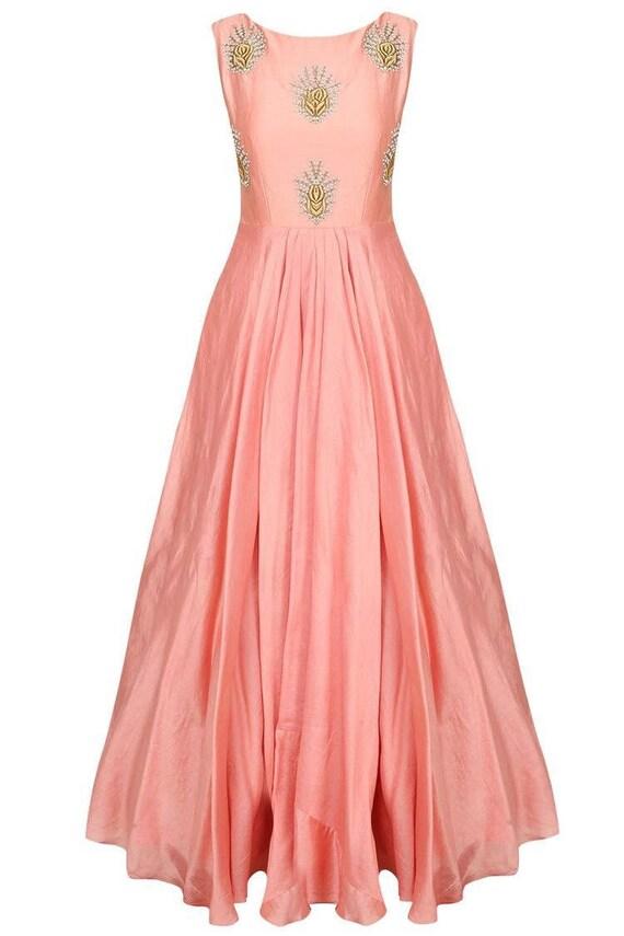 Peach Embroidered Flared Gownindo Western Dressblush Wedding Etsy,Flat Wedding Dress Sandals