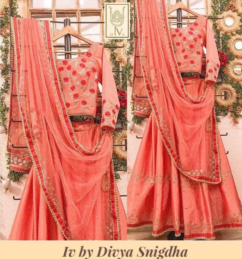 77889137a5 Peach heavy embroidered wedding lehenga Indian wedding lengha | Etsy