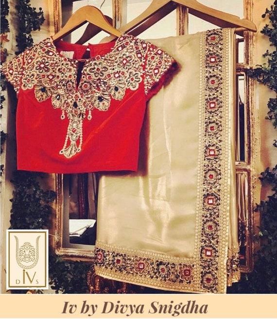 2019 authentique nouveau design vente discount Noces d'or brodé saree/sari, or cocktail sari saree indien georgette, brodé  frontière fiançailles sari, rouge blouse saree