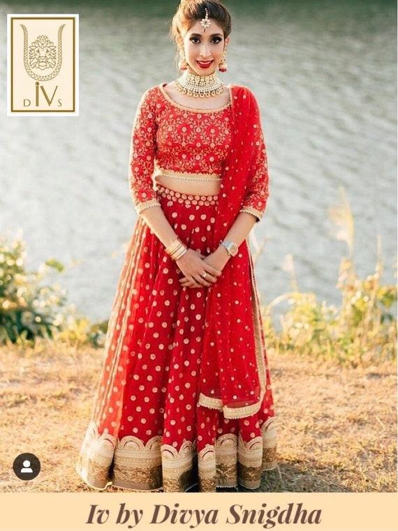 Red Embroidered Wedding Lehenga Indian Bridal Lengha Choli Etsy
