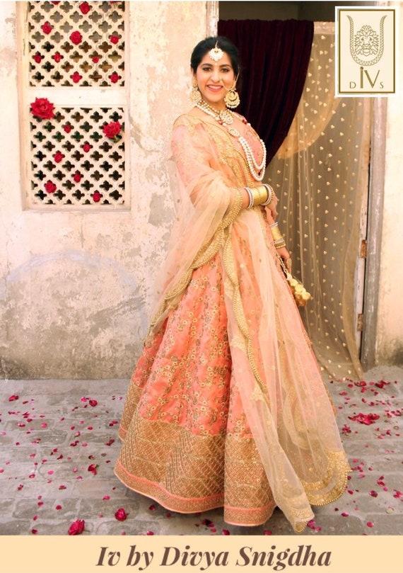 Peach Embroidered Wedding Lehenga Indian Bridal Lengha Etsy