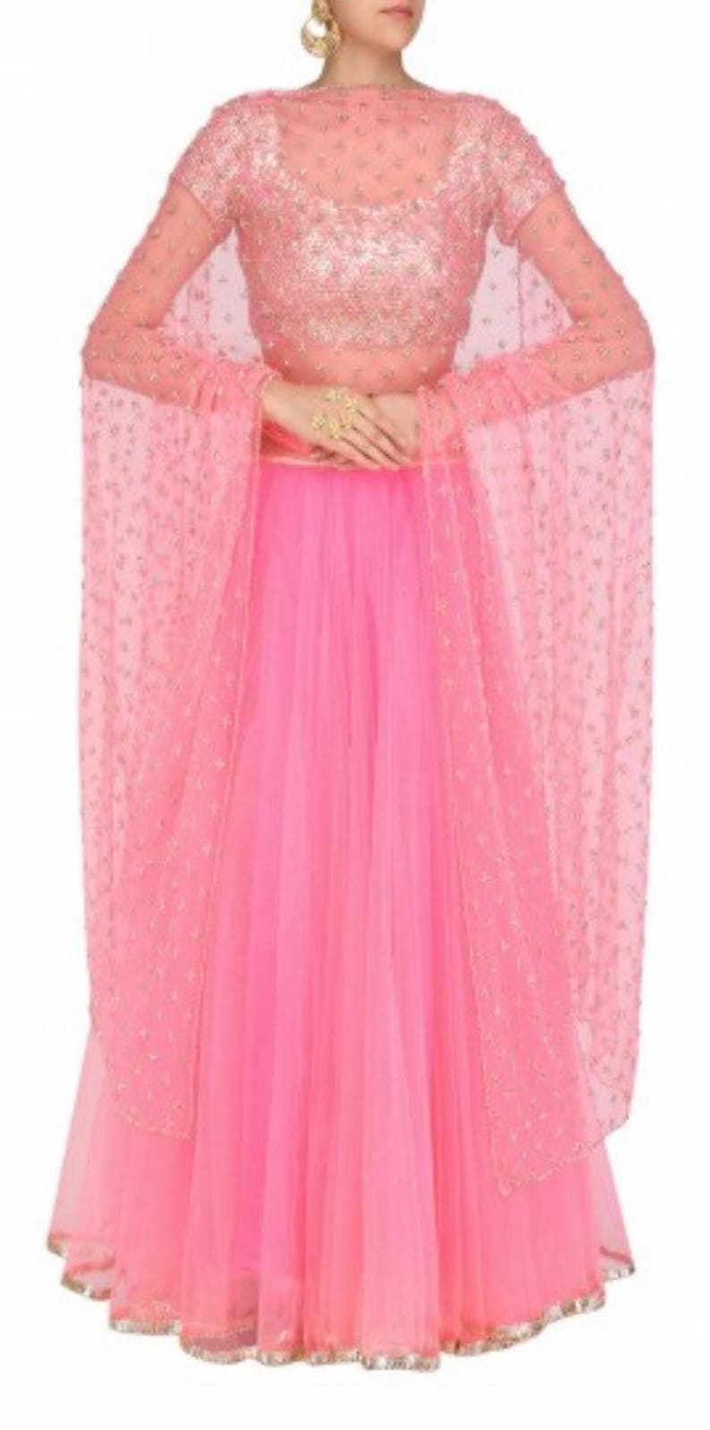 ec3500296 Pink lehenga with sequins embroidered top indian bridesmaids   Etsy