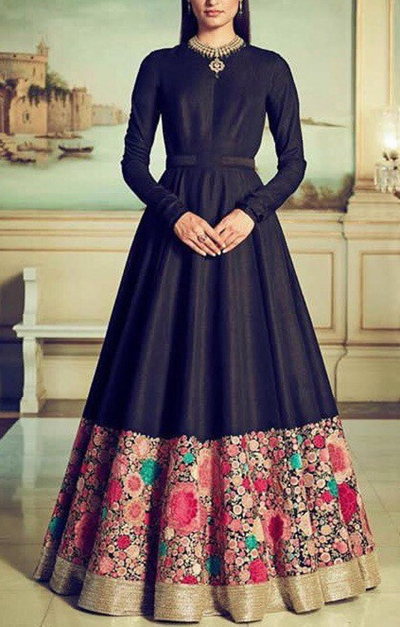 6e59924109 Black silk indo western gown with floral colourful thread | Etsy