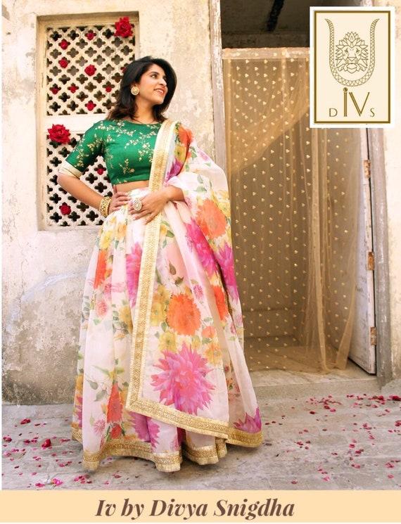 6f56eabbbe Indian wedding lehenga floral party wear designer chaniya | Etsy