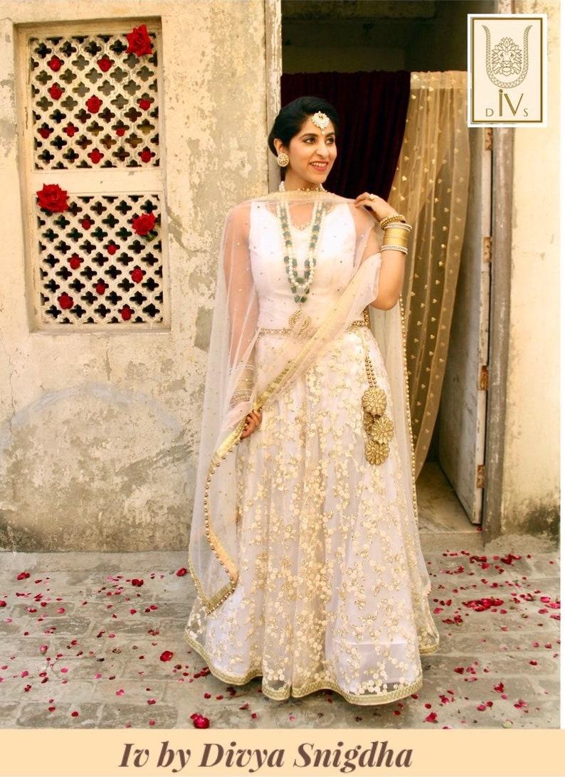 f2b5077010 Off white embroidered wedding lehenga bridal lengha choli | Etsy