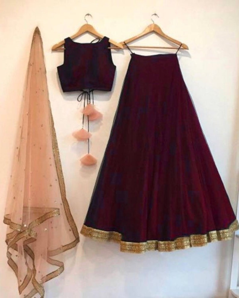 7c1e7b5b1c Red wine color lengha skirt and blouse crop top with contrast